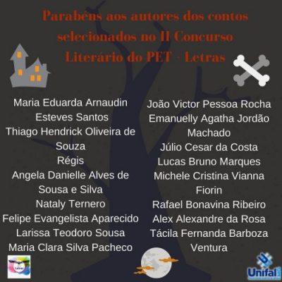 II Concurso Literário: Parabéns aos escritores que tiverem seus contos selecionados