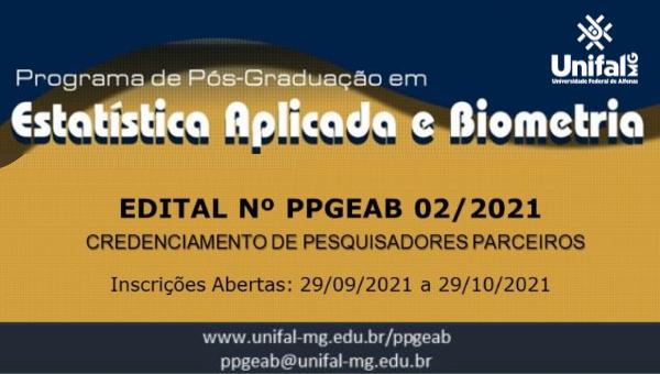 Credenciamento de pesquisadores(as) parceiros(as) do Programa de Pós-Graduação em Estatística Aplicada e Biometria